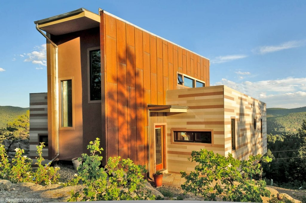 shipping container wooden house