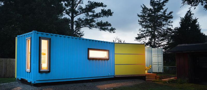 blue shipping container homes featured